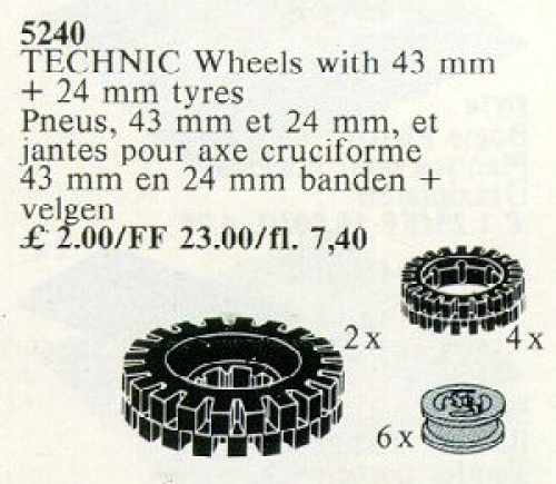 5240-1 6 Wheel Hubs and Tyres 24 mm (4) and 43 mm (2)